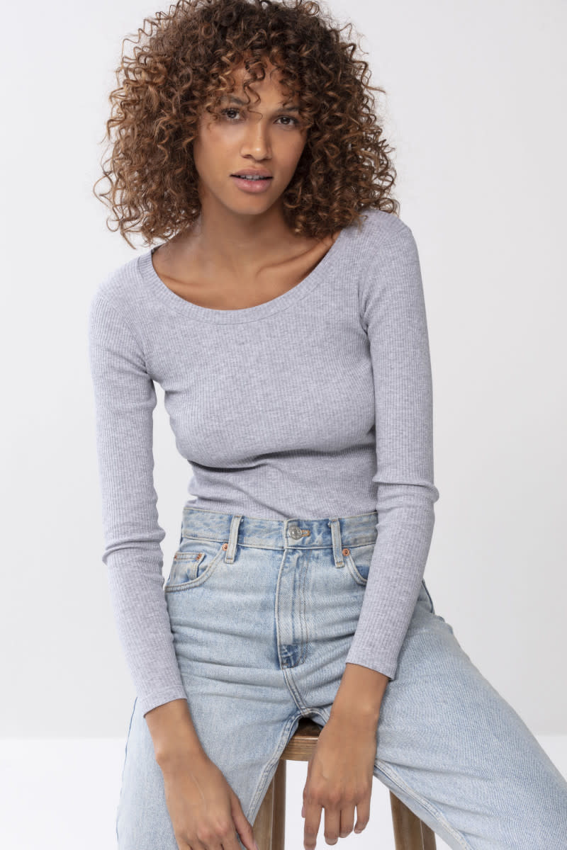 T-shirt lange mouw Cotton Rib 26516 - grijs-1