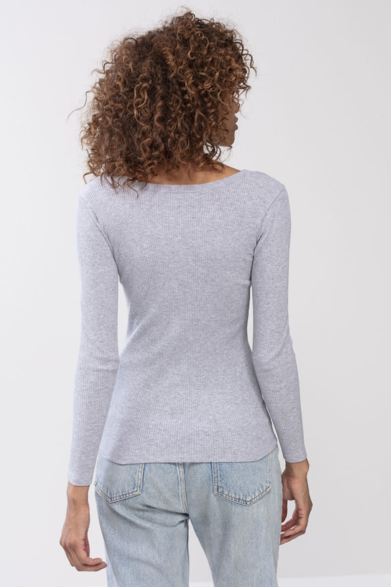 T-shirt lange mouw Cotton Rib 26516 - grijs-2