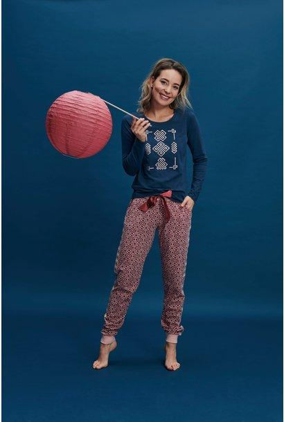 Pyjama lange mouw 37111 - donkerblauw/rood