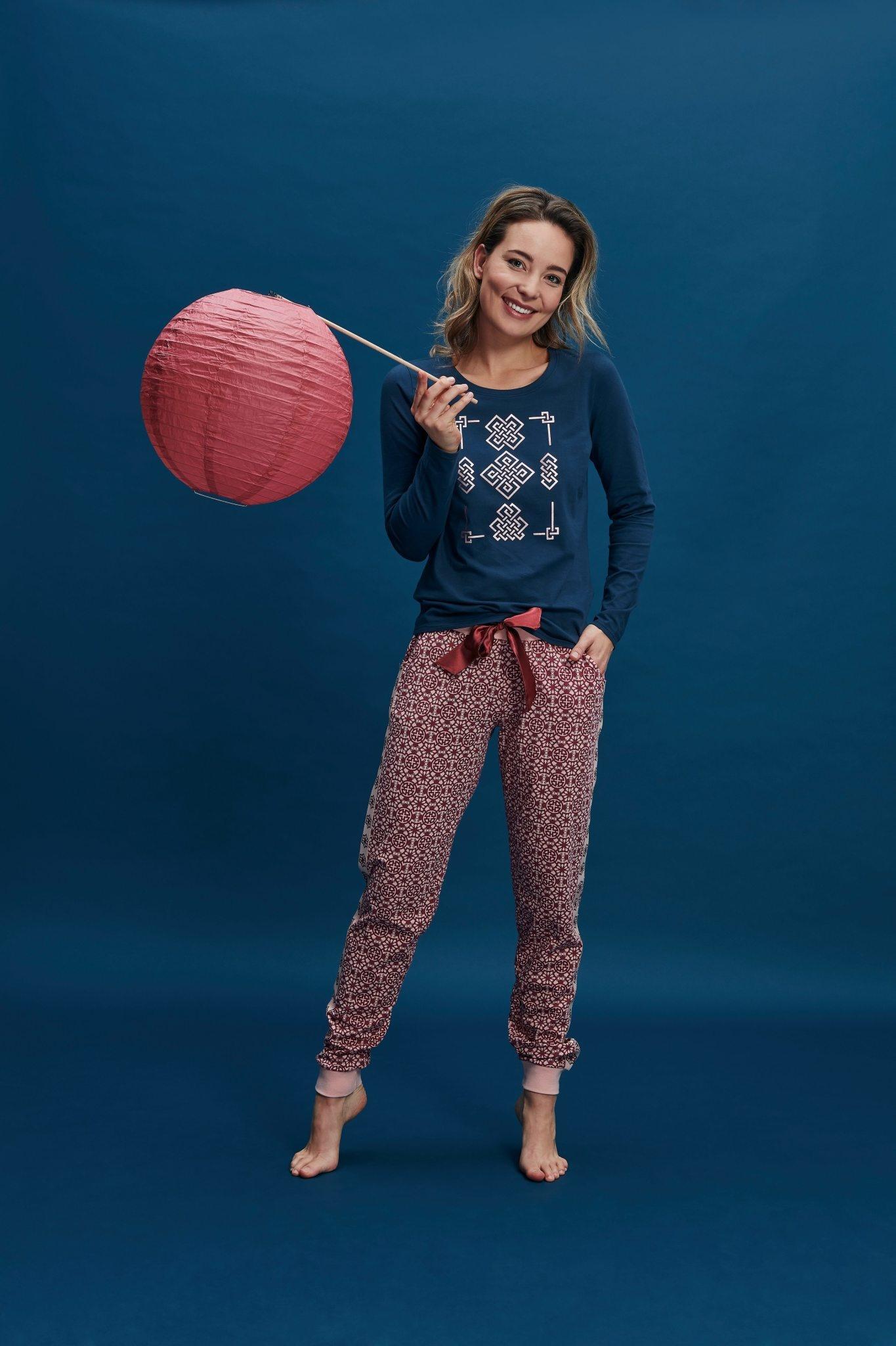 Pyjama lange mouw 37111 - donkerblauw/rood-1