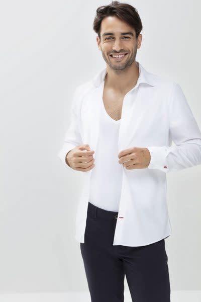 Business T-shirt diepe v-hals Dry Cotton 46038 - wit-3