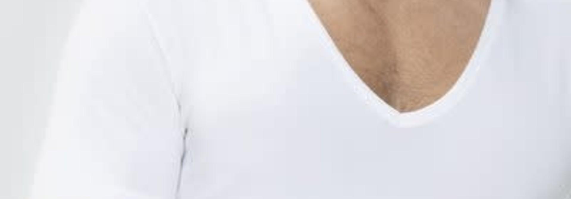 Business T-shirt diepe v-hals Dry Cotton 46038 - wit