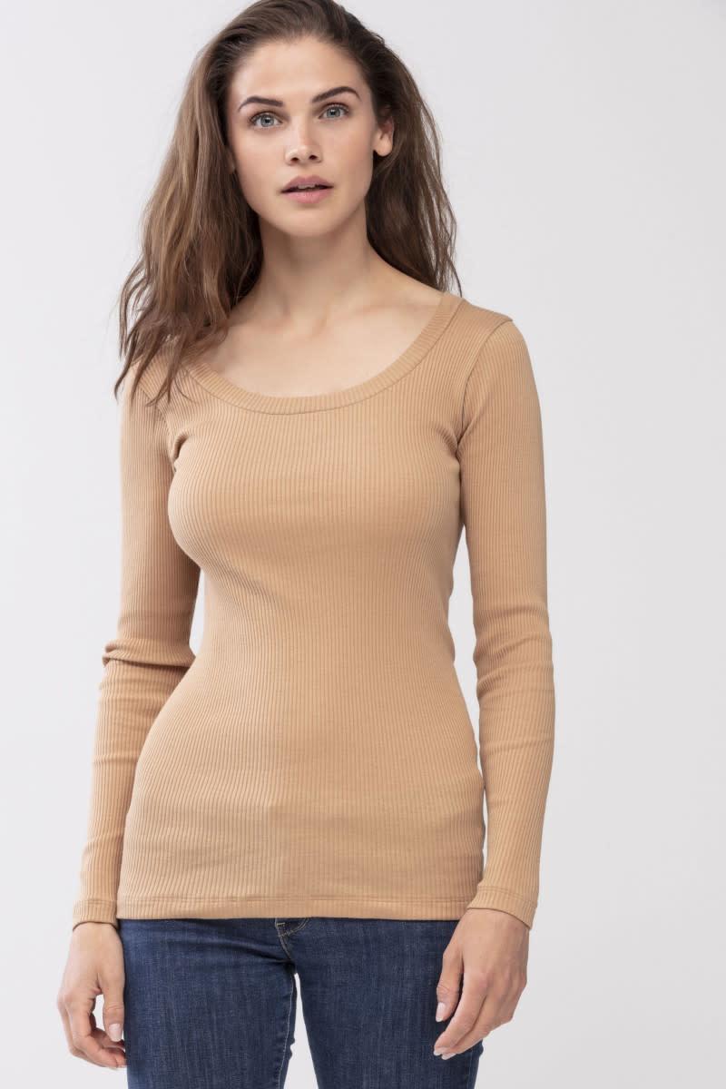 T-shirt lange mouw Cotton Rib 26516 - macadamia-2