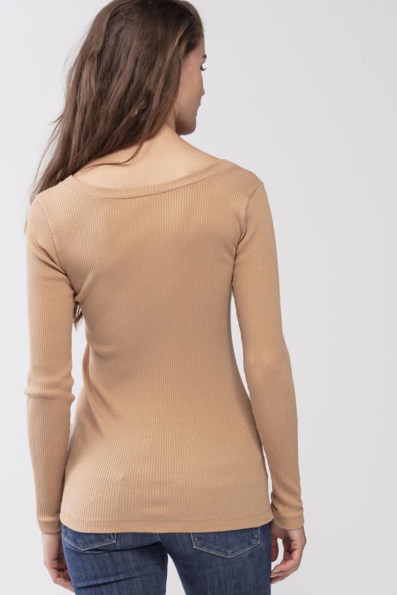 T-shirt lange mouw Cotton Rib 26516 - macadamia-4