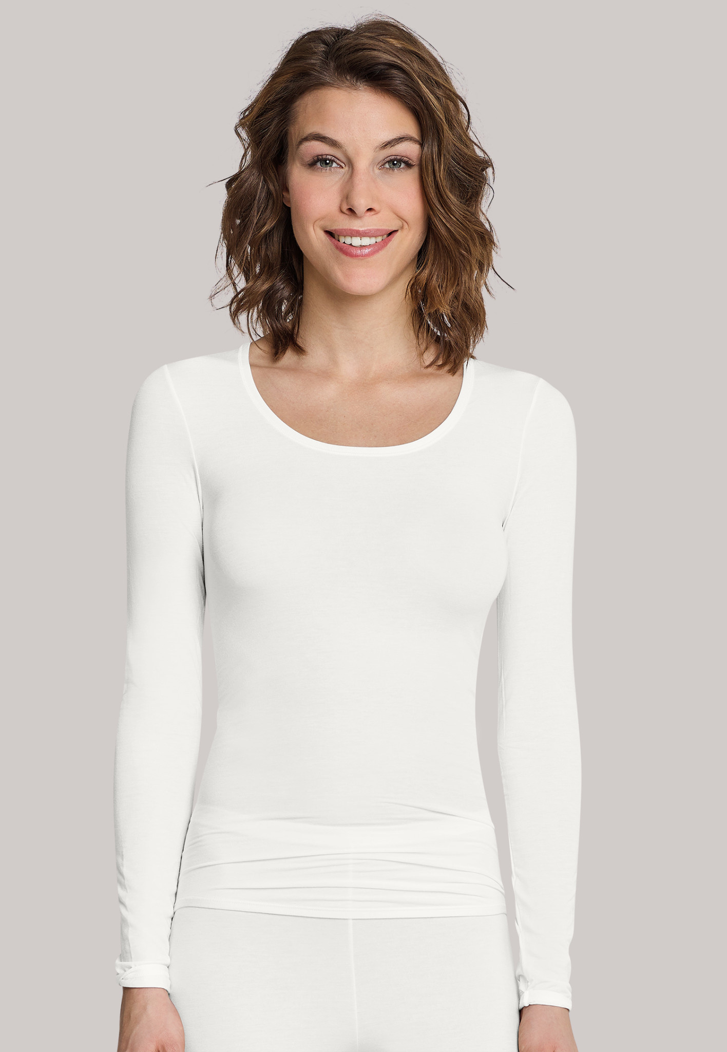 T-shirt Personal Fit lange mouw 155414 - offwhite-1