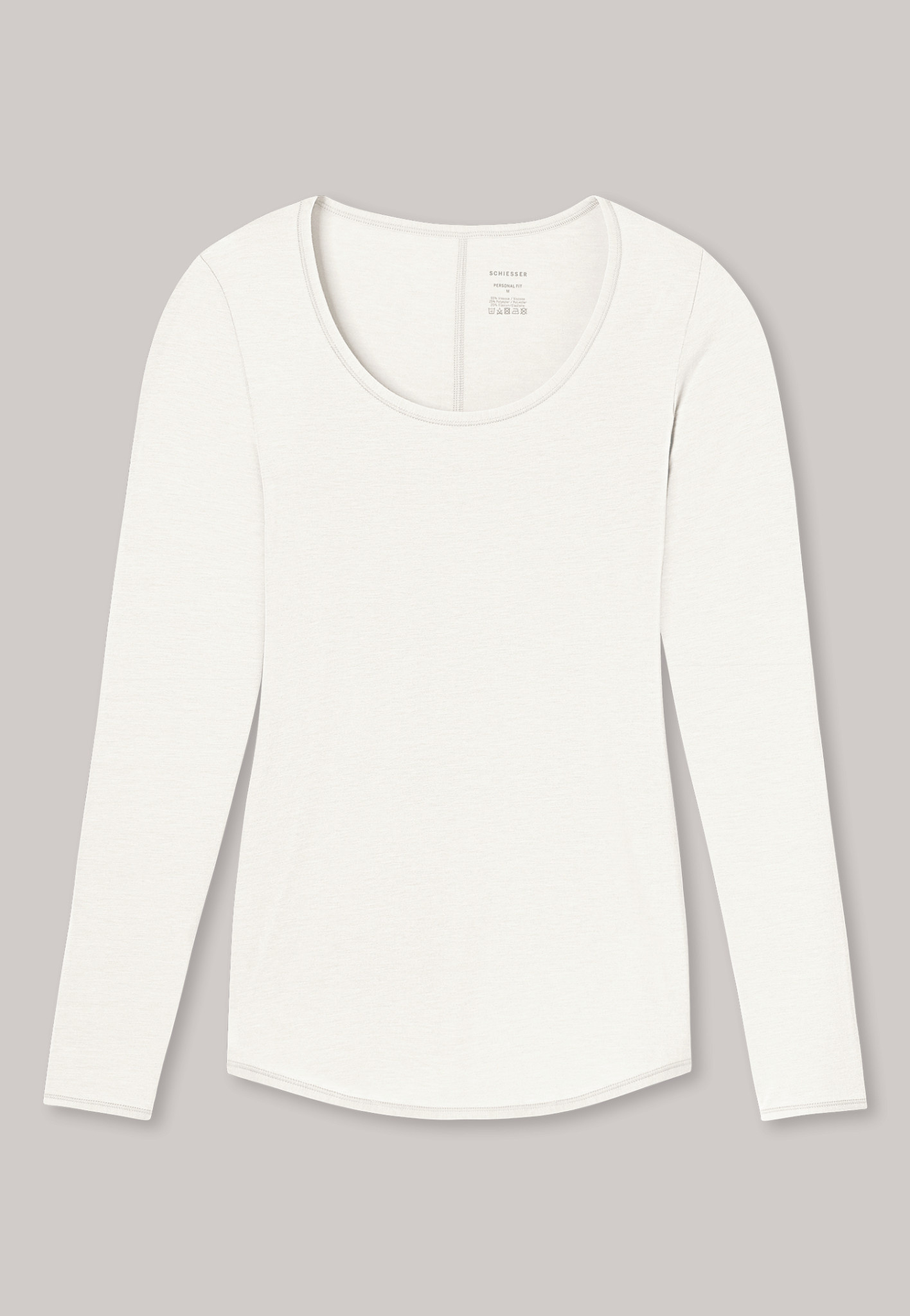 T-shirt Personal Fit lange mouw 155414 - offwhite-3