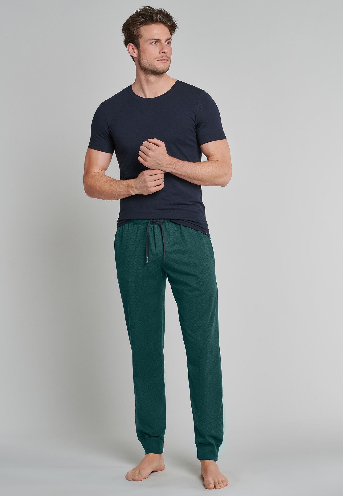 Pyjamabroek lang Mix & Match 163839 - donkergroen-3