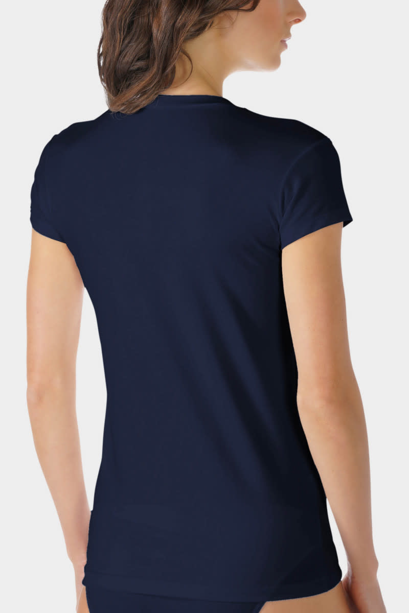 T-shirt hoog gesloten Cotton Pure 26501 - blauw-2