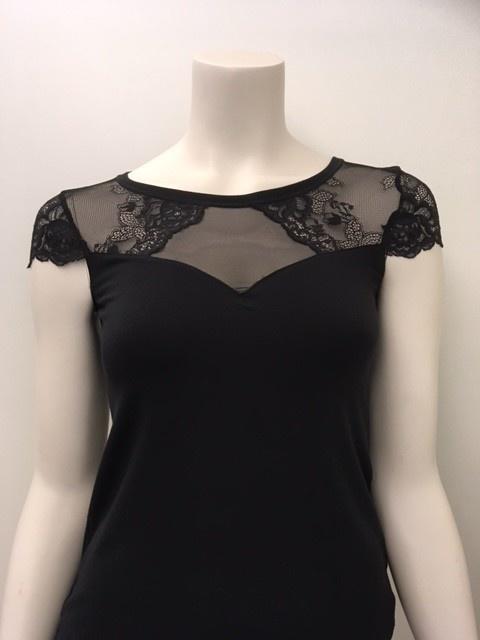 T-Shirt met kant Greta 1045545- zwart maat S & M-2