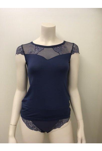 T-Shirt met kant Greta 1045545 - dark denim maat M & L