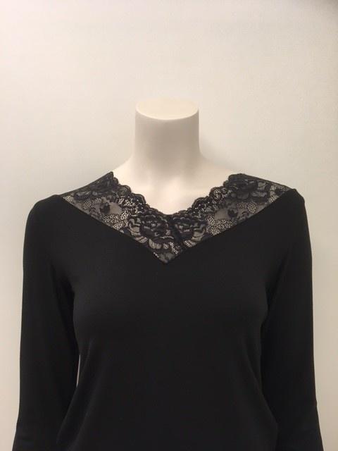 T-Shirt met kant lange mouw Greta 1045580 - zwart-2