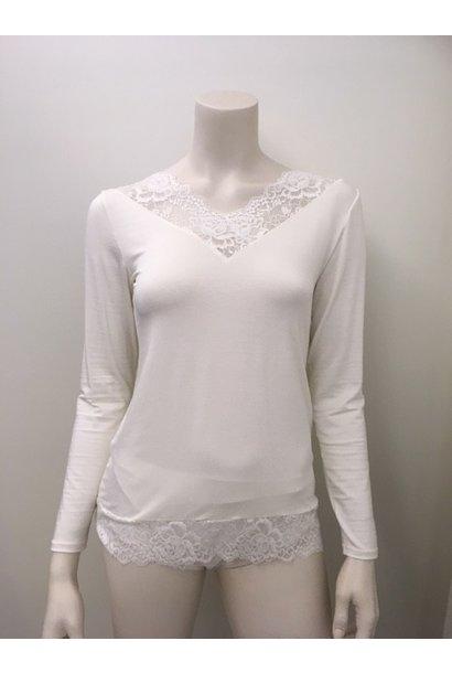 T-Shirt met kant lange mouw Greta 1045580 - ivoor