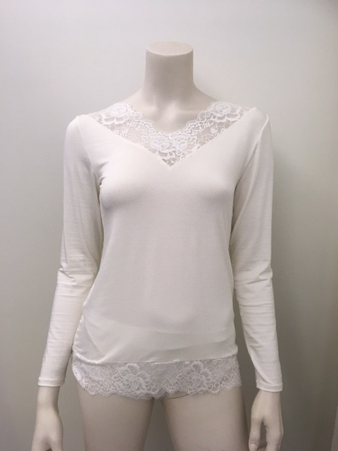 T-Shirt met kant lange mouw Greta 1045580 - ivoor-1
