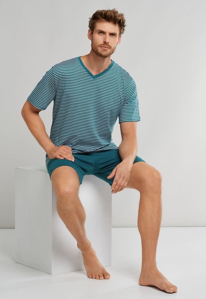 Pyjama korte mouw 173646 - blauw-3