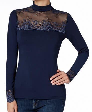 T-Shirt met kant lange mouw Greta 1045509 - donkerblauw-3