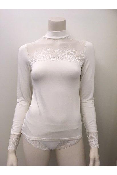T-Shirt met kant lange mouw Greta 1045578 - ivory