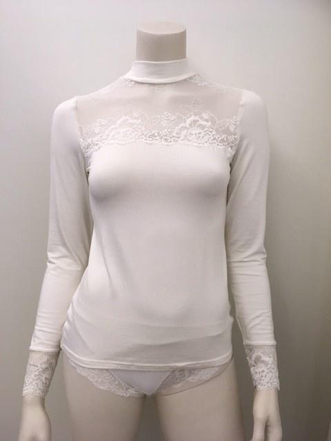 T-Shirt met kant lange mouw Greta 1045578 - ivory-1