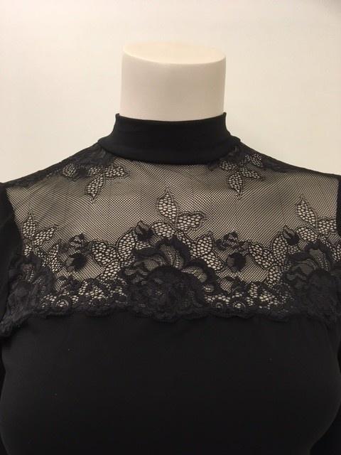 T-Shirt met kant lange mouw Greta 1045578 - zwart-3