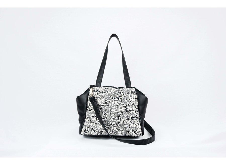 Victoria Black Cream Lace carrier bag