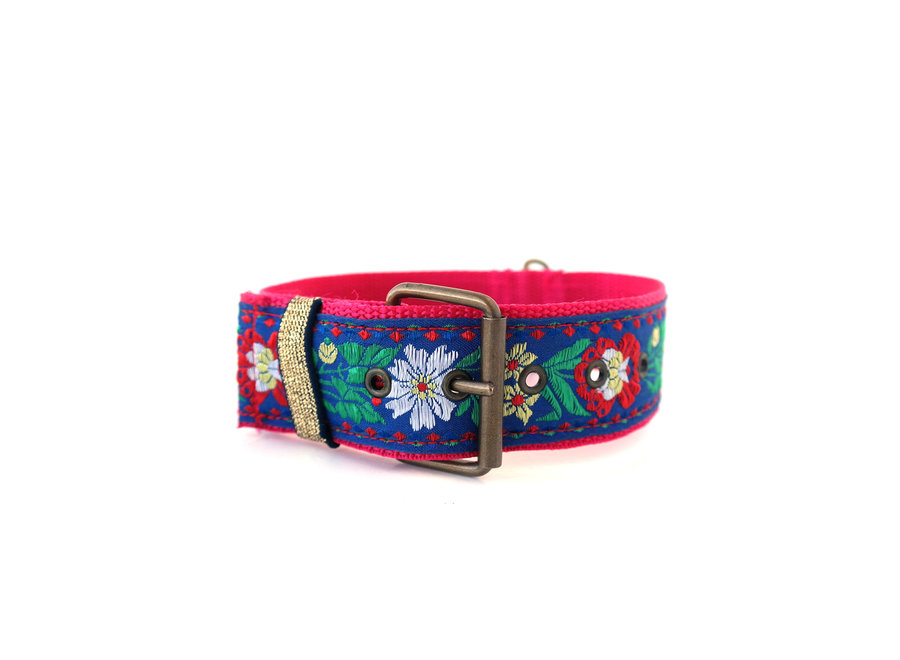 Boho Halsband Flower power Blue