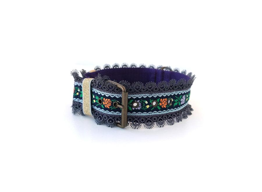 Boho Halsband Flower power Black