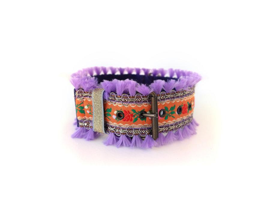 Boho Collar  Flower power Purple