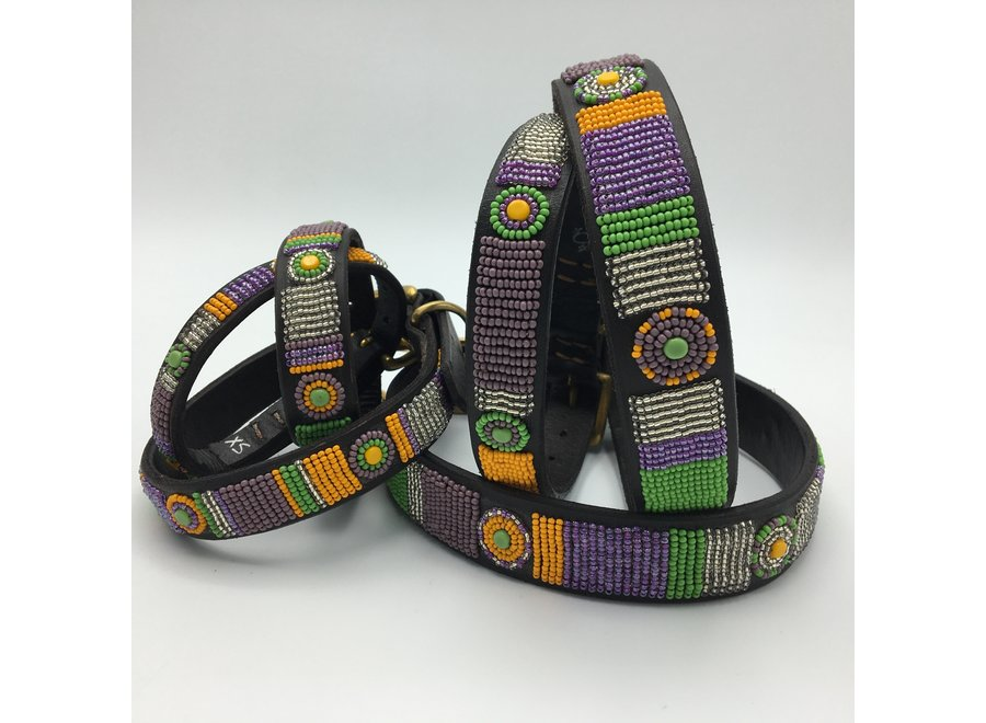 Beaded Dog collar Pistache