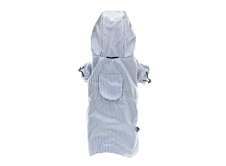 Striped raincoat light blue
