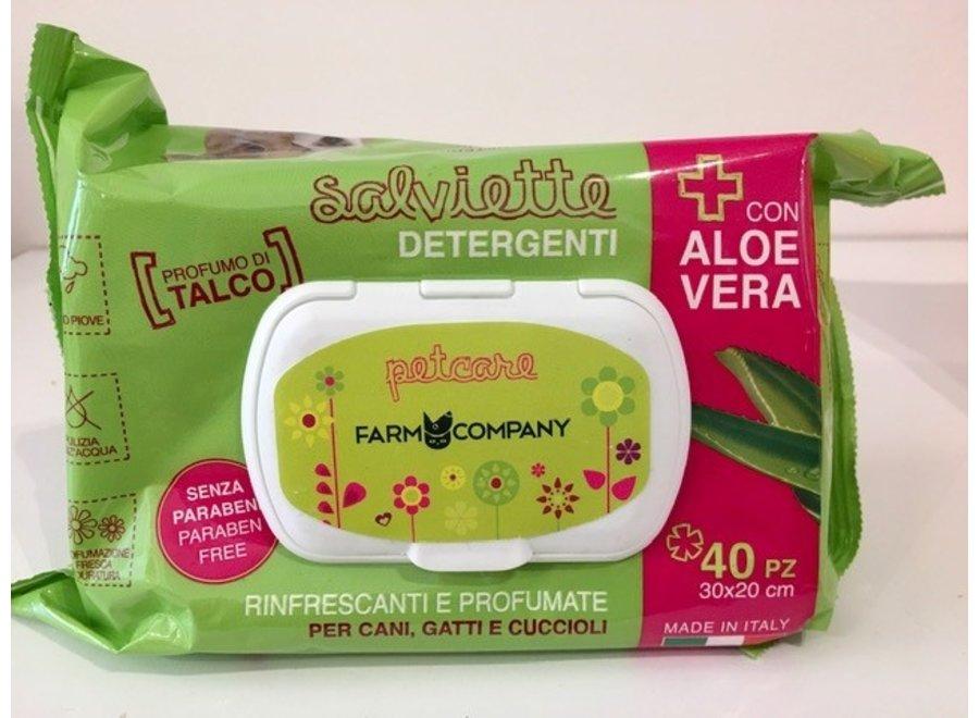 Verzorgende natte doekjes met Aloe Vera en Talk parfum