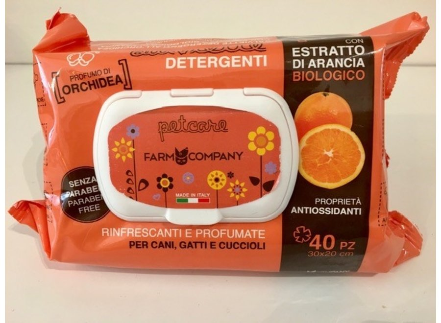Verzorgende natte doekjes Orange Organic extract met Orchidee parfum