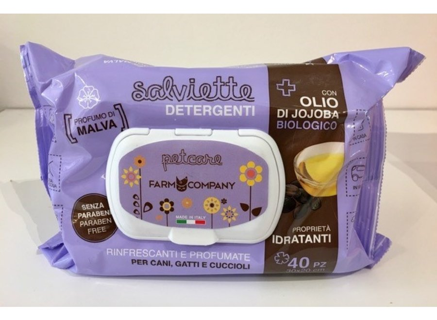Pet cleansing wipes Jojoba Organic Oil and Mallow
