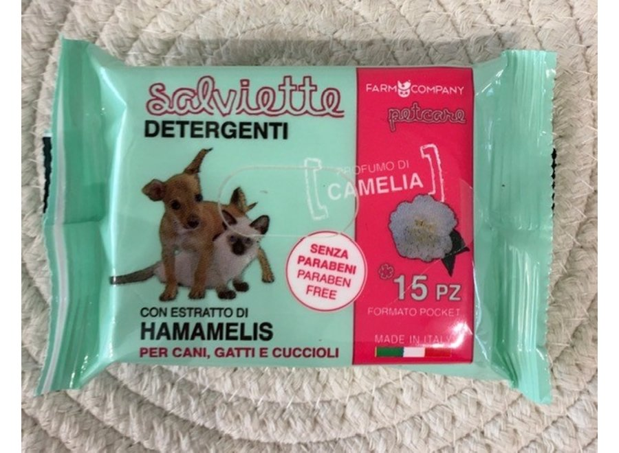 Pocket Pet cleansing wipes Camelia and Hamamelis