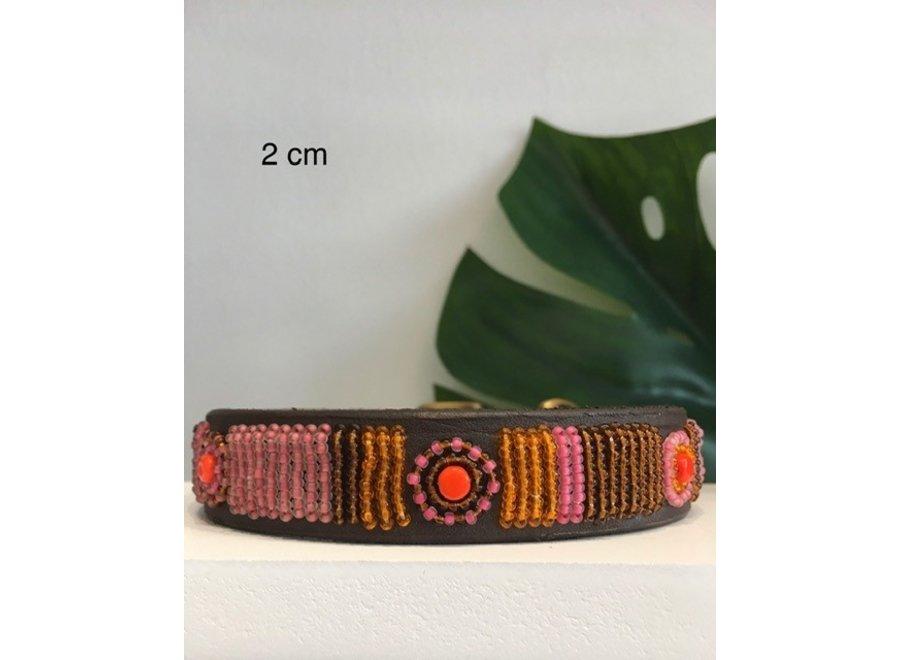 Beaded Dog collar Rosy