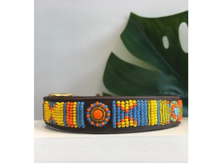 Beaded Dog collar Poppy