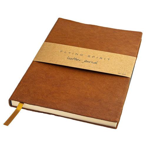 Clairefontaine Flying Spirit a5 gelinieerd leren notitieboek - Cognac