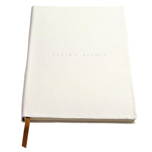 Clairefontaine Flying Spirit a5 lined leather notebook - White