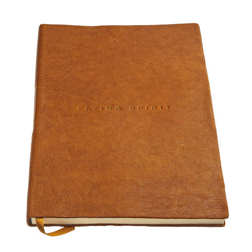 Clairefontaine Flying Spirit a5 dotted leren notitieboek - Cognac