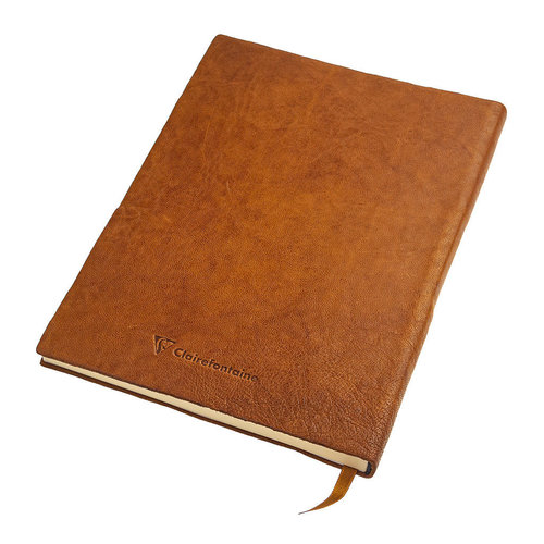 Clairefontaine Flying Spirit a5 dotted leather notebook - Cognac