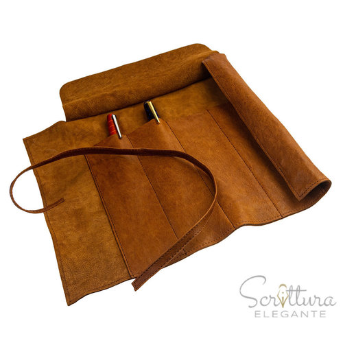 Clairefontaine Flying Spirit Pen roll leather - cognac