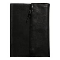 Refillable leather notebook with pouch - Black A5