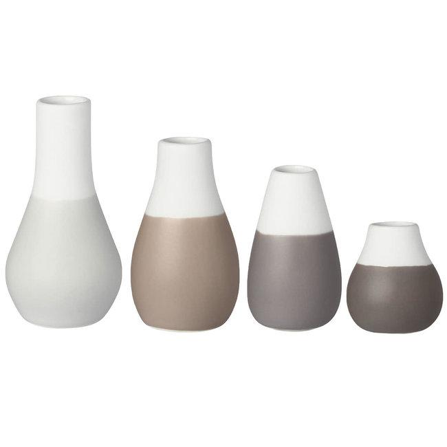 Mini pastel vases - set of 4 grey