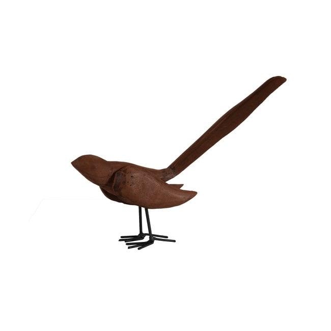 Houten vogel lange staart donkerbruin Indonesie