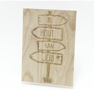 houten kaart Ik hout van jou