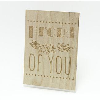 Houten kaart proud of you