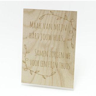 houten kaart maak van mijn hart jouw huis