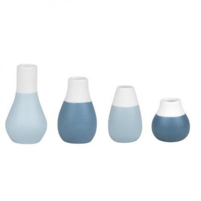 Mini pastel vases - set of 4 pcs blue
