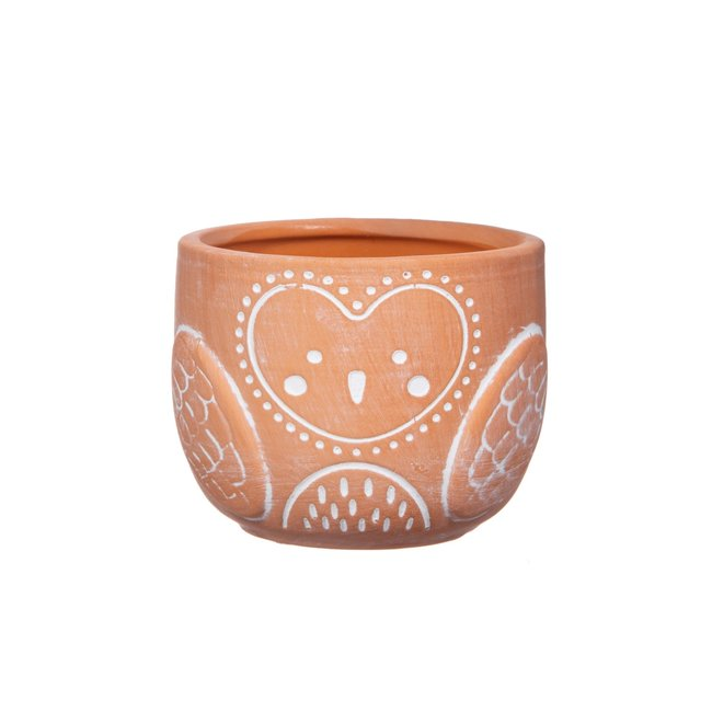 olivia owl terracotta  mini planter