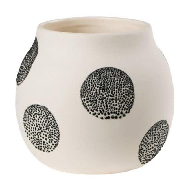 Pearl vase small White Black