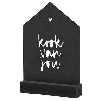 Zoedt Zoedt zwarte houten kaart huisje - Kook van jou