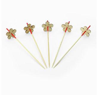 Cocktailprikkers bamboe rood met houten bloem